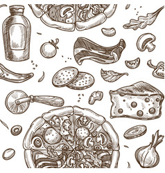 italian pizza prepared dish and ingredients vector image