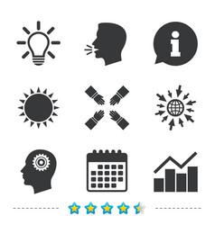 lamp idea graph chart diagram head with gear vector image