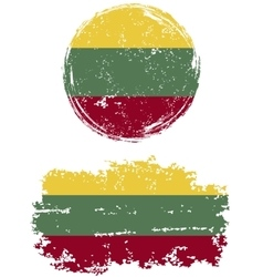 Lithuanian round and square grunge flags vector image