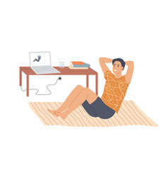 Man doing situps abs crunches at home vector