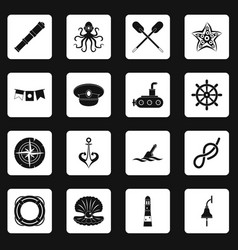 nautical icons set squares vector image