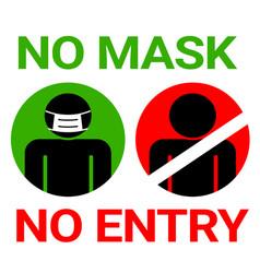 No mask no entry sign for covid19 corona virus vector