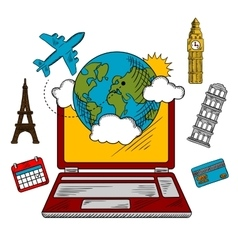On-line travel and booking icons vector