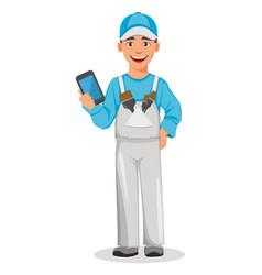 Painter man decorator cartoon character vector
