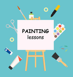 Painting lessons easel for painting workshop vector