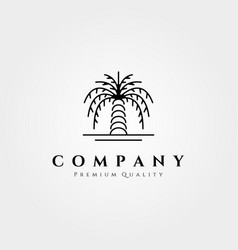 palm tree logo line art design minimalist palm vector image