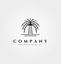 palm tree logo line art design minimalist vector image