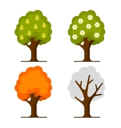 Pear Tree Set on White Background vector