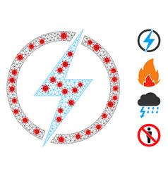 Polygonal mesh electricity pictograph vector