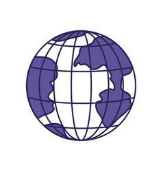 Purple line contour of earth globe with meridians vector