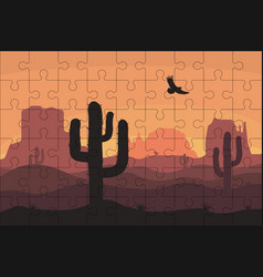 puzzles template with rectangle grid and desert vector image