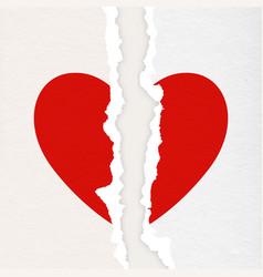 realistic paper textured torn heart closeup vector image