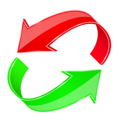 red and green 3d arrows recycle sign vector image