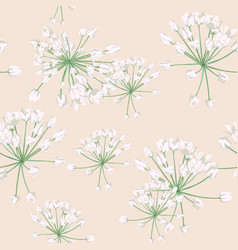 seamless pattern with white wild herbs vector image