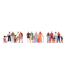 set mix race multi generation families happy vector image