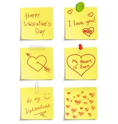 Set notes to valentine day vector
