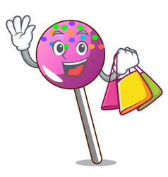 Shopping lollipop with sprinkles character cartoon vector