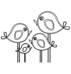 Silhouette cute cartoon birds set icon vector