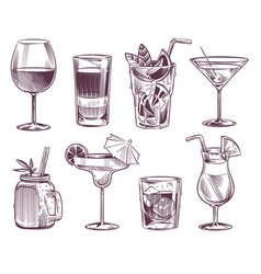 sketch cocktails hand drawn cocktail and alcohol vector image