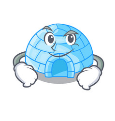 Smirking cartoon dome igloo ice house snow vector