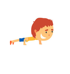 Sportive boy doing push up kids physical activity vector