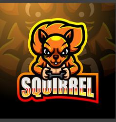 Squirrel esport logo mascot design vector