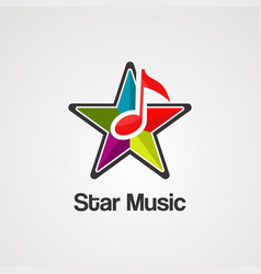 star music logo icon element and template vector image