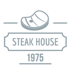 steak house logo simple gray style vector image
