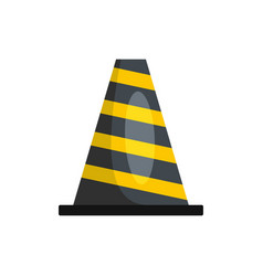 striped cone icon flat style vector image