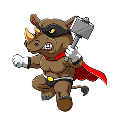 super rhino using red super costume and vector image