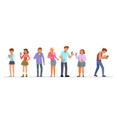 Teenagers addiction to new technology trends vector