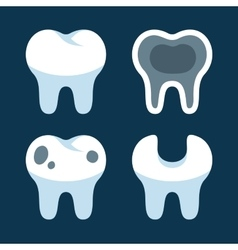 Teeth with different dental problems icons set vector