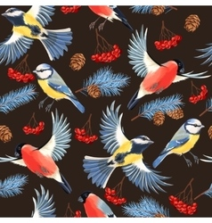 Tomtit and bullfinch seamless vector image