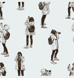tourist takes the pictures vector image