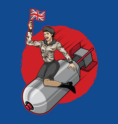 Uk pin up girl ride a nuclear bomb vector