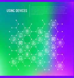 using devices concept in honeycombs vector image