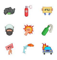 vandalism icons set cartoon style vector image