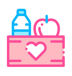 Volunteers support food box thin line icon vector