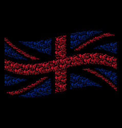 Waving united kingdom flag mosaic of fart gases vector