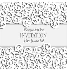 wedding card with paper lace frame lacy doily vector image