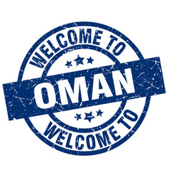 Welcome to oman blue stamp vector