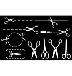 white scissors set with dotted line on black vector image