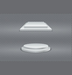 winner podium set round and square 3d two-stage vector image