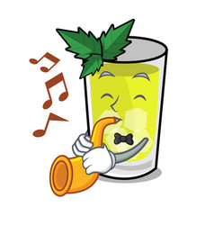 With trumpet mint julep mascot cartoon vector