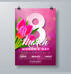 womens day party flyer with tulip vector image