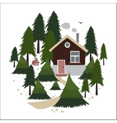 Wooden house in the coniferous forest vector