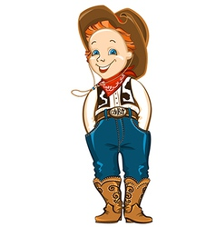 Young cowboy isolated on white vector