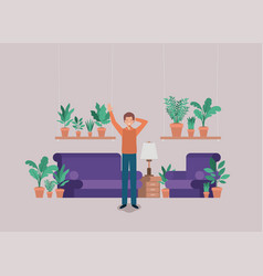 young man on the livingroom vector image