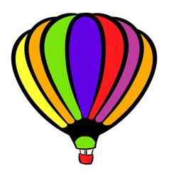 bright air balloon icon icon cartoon vector image