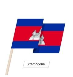 Cambodia Ribbon Waving Flag Isolated on White vector image vector image
